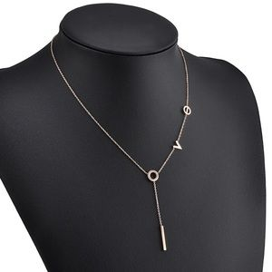 Jewelry - 14 kt Gold-Plated LOVE drop necklace.