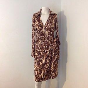 Vintage Express Animal Print Wrap Dress
