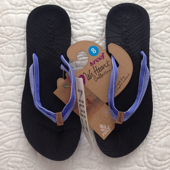 046164dfdb3ec5 NWT Blue black Reef Women s Double Zen flip flops