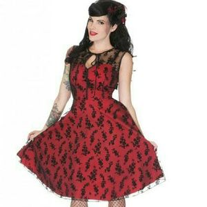 Voodoo Vixen Dresses & Skirts - 💀 ♣ Floral Flocked Lace Overlay Flaired Dress Red