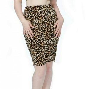 Voodoo Vixen Dresses & Skirts - Leopard Velvet Ruched Pencil Skirt Women's