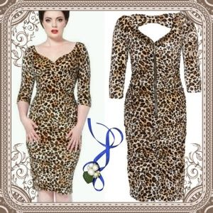Voodoo Vixen Dresses & Skirts - Voodoo Vixen Velvet Leopard Sleeved Pencil Dress
