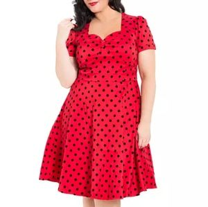 Voodoo Vixen Dresses & Skirts - Voodoo Vixen Polka Dot 🍒Flair Plus Size red Dress