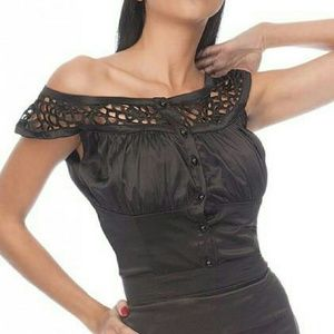 Voodoo Vixen Tops - Women's Voodoo Vixen Stretch Black Satin Top.
