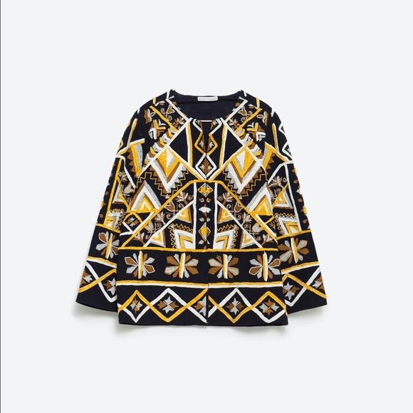 Off zara jackets blazers ethnic embroidered
