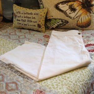 Eileen Fisher White Denim Crop Capri Pants 