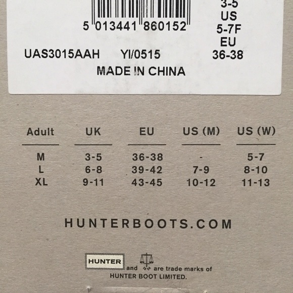 hunter boot sock size guide