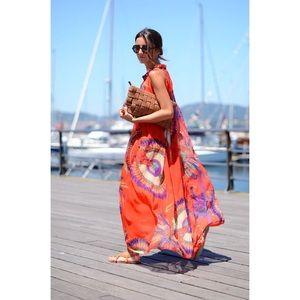 Floral chiffon vacation dress. Orange