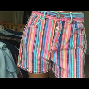 Vintage multi colored thrifterd shorts.