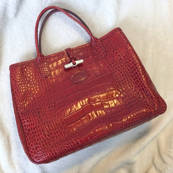 Longchamp Roseau Croco Top Handle Handbag Red