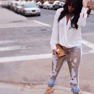 Ripped Sequin Denim