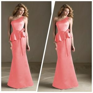 Mori Lee Dresses & Skirts - One shoulder peplum gown by Mori Lee in Canteloupe