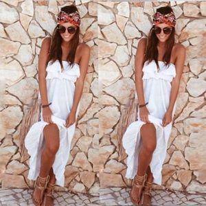 001   Bohemian strapless maxi dress