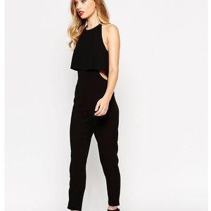 ASOS Pants - ASOS Black Double Layer Halter Cut Out Jumpsuit