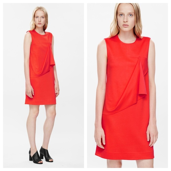 COS Dresses & Skirts - HP🎉 COS Red Orange Minimalist Draped Jersey Dress