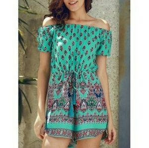 Pants - LAST ONE!Turquoise Printed Off-the-Shoulder Romper