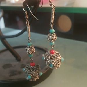 Jewelmint Jewelry - Silver Moroccan earrings with teal & red beads