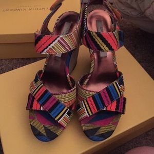 Cynthia Vincent x Target multicolor wedges size 7