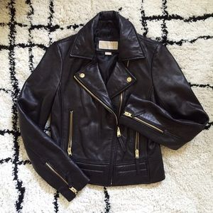 MICHAEL Michael Kors Jackets & Blazers - Michael Kors Leather Moto Jacket w/ Gold Hardware