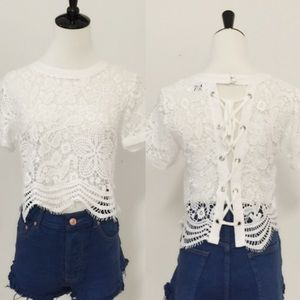 April Spirit Tops - Lace all over short sleeve top. Price firm.