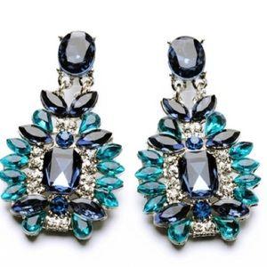 Blue Cluster Crystal Drop Earrings