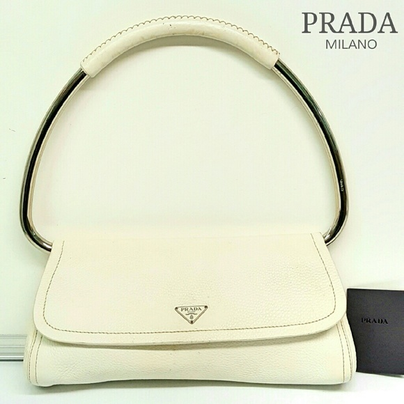 b31c87e35bb117 ... ireland vintage authentic prada silver ring white bag 57359 0a287