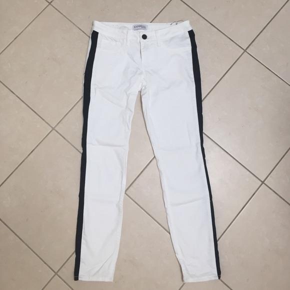 85% off Express Pants - Express white tuxedo stripe skinny jeans ...