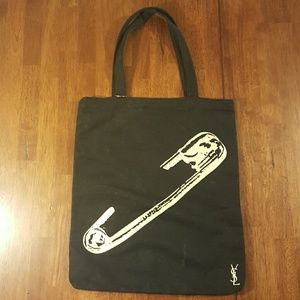 HP! 100% authentic YSL SAFETY PIN BLACK CANVAS BAG