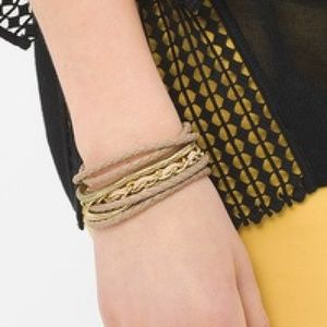 NWT braided leather and gold chain bracelet