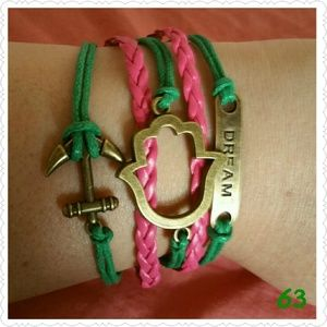 Jewelry - Anchor Dream flower charm Leather bracelet.