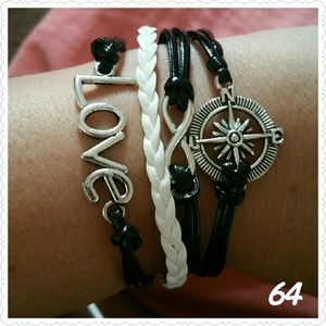 Jewelry - Infinity Love Compass Leather charm bracelet