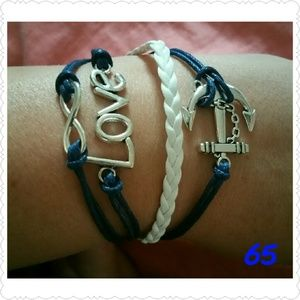Jewelry - Infinity Love Anchor Leather charm bracelet