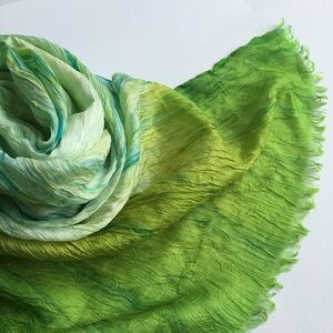 Peridot Green Ombre Watercolor Silk Scarf