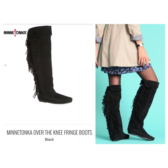 Suede Over The Knee Fringe Boots