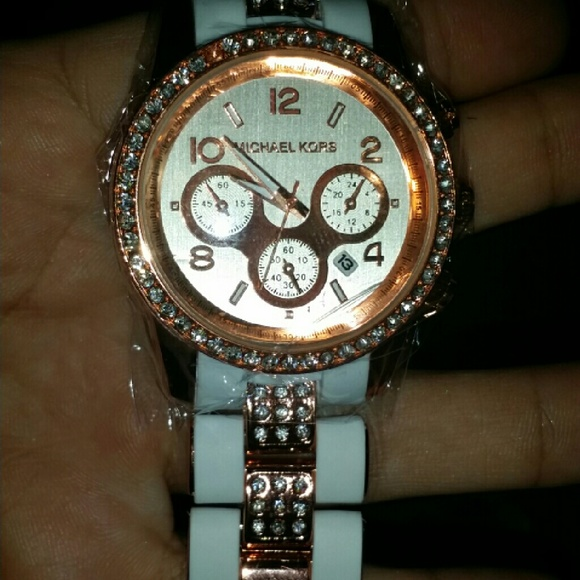 authentic michael kors rose gold and white watch poshmark