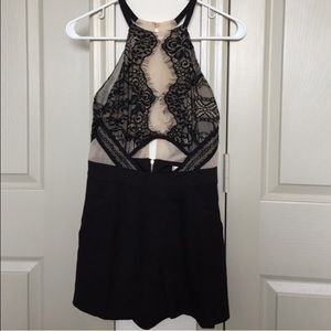 Black lace sheer romper