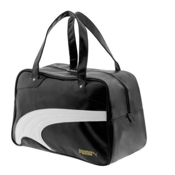 Puma Bags Duffle Bag Large Size Black And White Leather