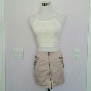 H&M pink studded zipper mini skirt