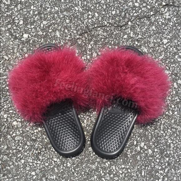 edf0b16c8 Burgundy Faux Fur Nike Slides