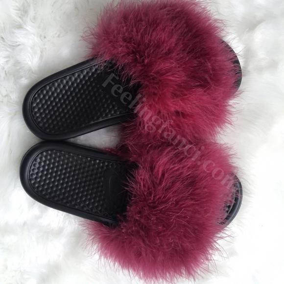 f7a12981b08545 Custom Nike Burgundy Faux Fur Slides