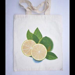 Handbags - Hand Painted Lime Canvas Shopping Bag
