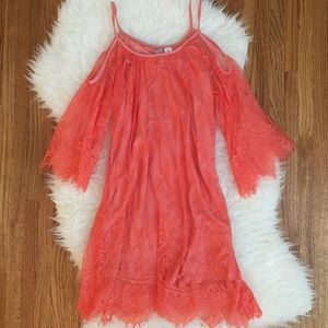 Eyelash Lace Coral Cold Shoulder Shift Dress