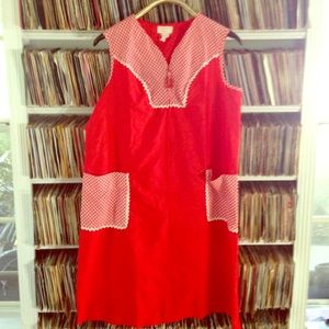 Vintage red sun dress from Sears with pockets