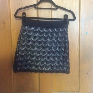 Black lace Free People bodycon pencil skirt!