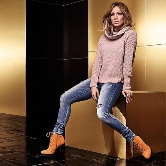 6287a536f1e4 Jennifer Lopez Shoes - JLO Platform High Heel Ankle Boots Marky Wheat