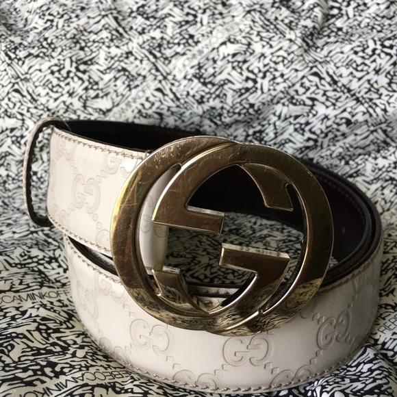 9a9eced1e Gucci Accessories   White Ssima Leather Belt Sold   Poshmark