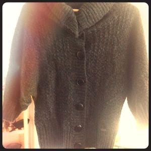 numph Sweaters - Dark Grey Button Down Wool Sweater/Cardigan
