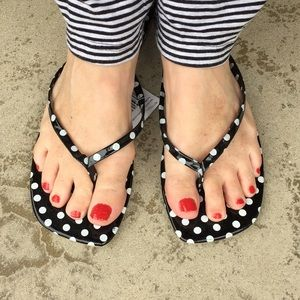 Totally Dotty Thong Sandals NWT