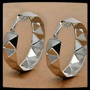 Jewelry - Huge Silvertone Hoops