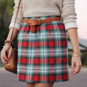 Red and Green Plaid Skirt